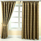 "Homescapes Gold Jacquard Curtain Floral Damask Design Fully Lined - 66"" X 72"" Drop"