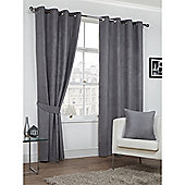 Hamilton McBride Faux Suede Eyelet Curtains - Grey
