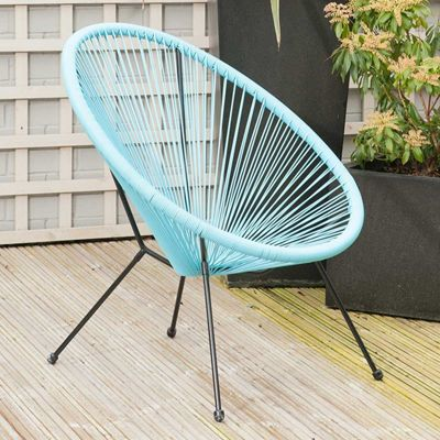 Weave Furniture Blue Chair Bistro Set Garden Chair Patio Outdoor Conservatory
