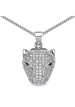 Rhodium Plated Sterling Silver Round Brilliant Cubic Zirconia Panther Pendant Necklace 18 inch