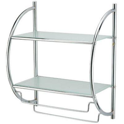Techstyle Two Tier Metal Wall Shelf / Towel Rail