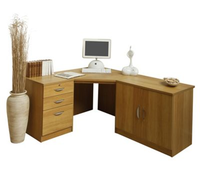 Enduro Home Office Corner Desk / Workstation with Pedestal and Cupboard - English Oak