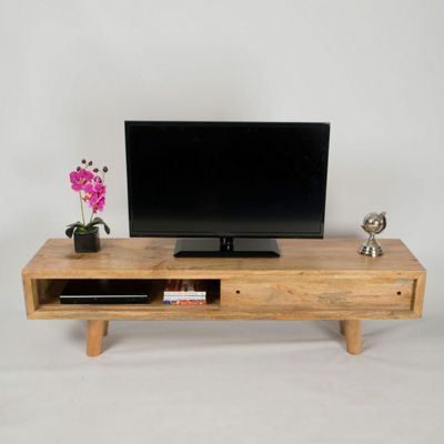 Homescapes Retro Natural Wood TV and Media Unit with Sliding Door