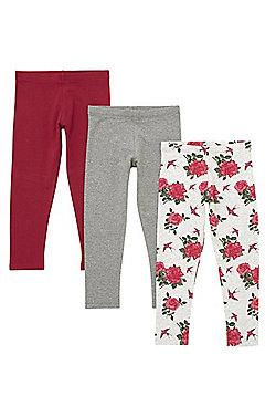 F&F 3 Pack of Rose Print and Plain Leggings - Grey/Berry