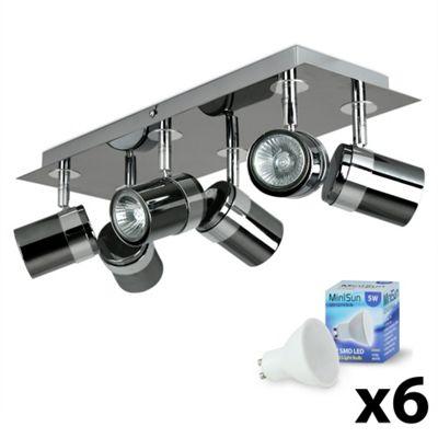 Rosie 6 Way LED Rectangular Plate Spotlight, Black Chrome & Chrome