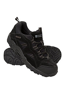 Mountain Warehouse Walking Shoes Stampede Kids Waterproof Suede and Mesh Upper - Black