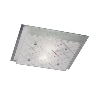 Aries Ceiling Square 2 Light Medium Polished Chrome/Glass