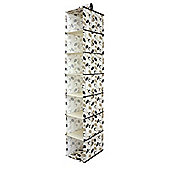 Country Club Seven Section Hanging Wardrobe Organiser, Black & Cream