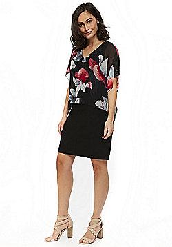 Wallis Floral Print Overlayer Dress - Black