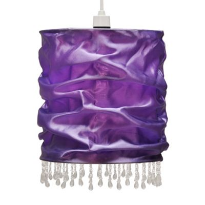 Amelia Beaded Fabric Ceiling Light Shade, Purple