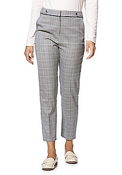 F&F Checked Slim Fit Ankler Grazer Trousers - Black & White