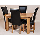 Hampton Solid Oak Extending 120 - 160 cm Dining Table with 4 Black Washington Leather Chairs