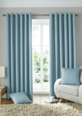 Alan Symonds Lined Solitaire Duck Egg Eyelet Curtains - 90x90 Inches (229x229cm)