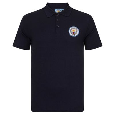 Manchester City FC Boys Crest Polo Shirt Navy Blue 6-7 Years