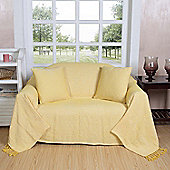 Homescapes Cotton Halden Chevron Yellow Throw with Tassels, 255 x 360 cm