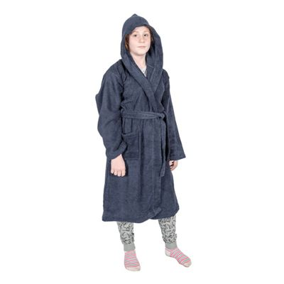 Homescapes Navy Blue 100% Combed Egyptian Cotton Hooded Kids Bathrobe, Small