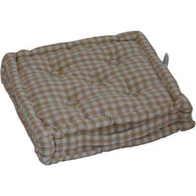 Homescapes Cotton Gingham Check Beige Floor Cushion, 40 x 40 cm