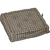 Homescapes Cotton Gingham Check Beige Floor Cushion, 40 x 40 cm