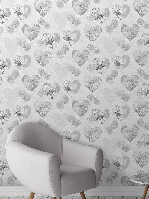 Novelty Hearts Grey Wallpaper