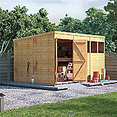 BillyOh Expert Tongue and Groove Windowed Pent Workshop 12x8