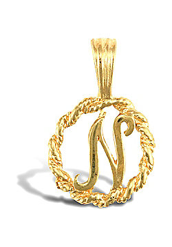 Jewelco London 9ct Gold Rope Initial ID Personal Pendant, Letter N - 0.9g