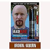 Blackbeard Mens Instant Hair Colour Mascara Beard Moustache BROWN / AUBURN