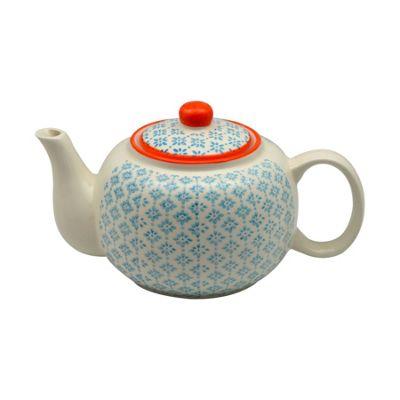 Nicola Spring Patterned Porcelain Teapot - 820ml (27.7oz) - Blue / Orange Print Design