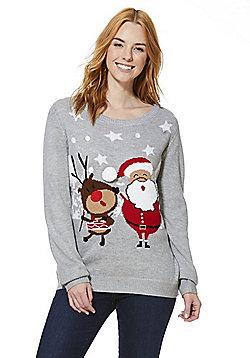 F&F Light-Up Musical Christmas Jumper - Grey
