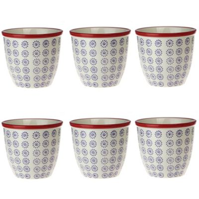 Patterned Plant Pot. Porcelain Indoor / Outdoor Flower Pot - Purple / Red Swirl Design - Box of 6