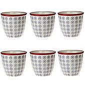 Patterned Plant Pot. Porcelain Indoor / Outdoor Flower Pot - Purple / Red Swirl Design - Box of 6