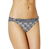 F&F Luxury Geo Print Fold-Over Bikini Briefs - Navy & White