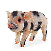 Realistic Pink & Black Spotted Piglet Resin Garden Ornament