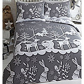 Mountain Snow. Christmas Themed King Size Bedding - Grey
