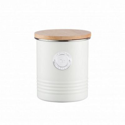 Typhoon Living Tea Metal Canister with Wooden Lid in Cream