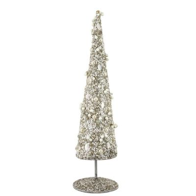 Glitz Grey And Cream Beaded Table Top Tree With Base