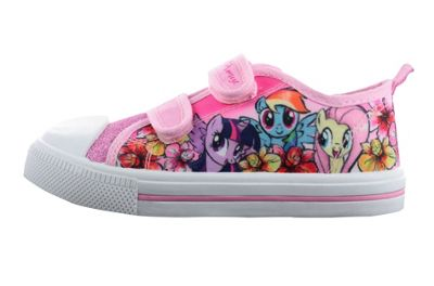 Girls MLP My Little Pony Pink Glitter Hook and Loop Sports Trainers Shoes UK Size 6