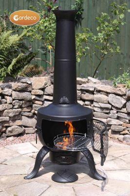 Large Tia Chimenea in Black, inc BBQ grill