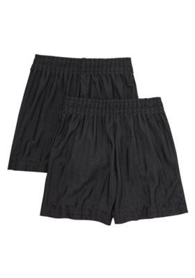 F&F School 2 Pack of Boys Sports Shorts 5-6 yrs Black