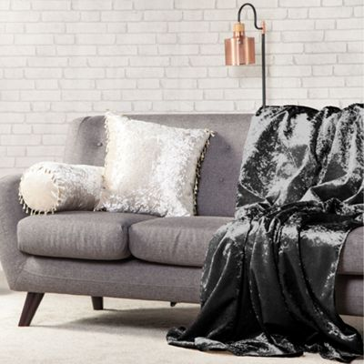 Ebony Crushed Velvet 140cm x 240cm Soft Throw Over - 1 Sided