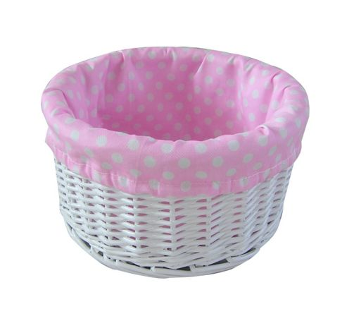 Wicker Valley Willow Round Lining Basket in Pink Spot