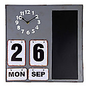 Grey Metal Wall-mountable Home Planner - Clock, Calendar & Memo Blackboard