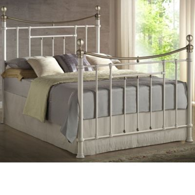 Happy Beds Bronte Metal High Foot End Bed with Pocket Spring Mattress - Cream - 4ft6 Double