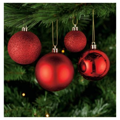 Tesco Mixed Red Bauble Pack, 40 Piece