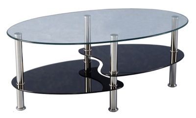 Cara Black and Clear Glass Coffee Table