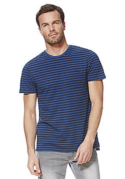 F&F Striped Pique T-Shirt - Blue
