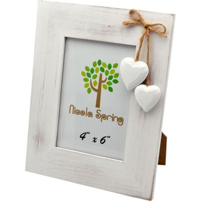 Nicola Spring White Wooden Photo Picture Frame With White Hearts - 4 x 6