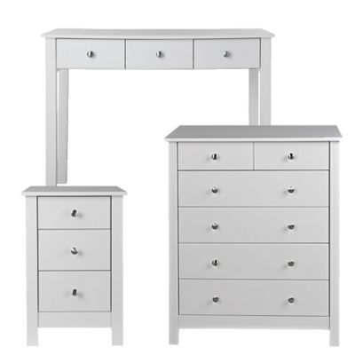 Florence Bedside + 2+4 Drawer Chest + Desk/Dressing Table White Package