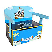 Kiddi Style Childrens Pirate Themed Wooden Convertible Toy Box & Bench - Blue