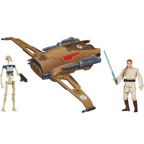 Star Wars MTT Droid fighter with Battle Droid and Obi-Wan Kenobi Figures