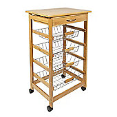 Woodluv Bamboo Kitchen Storage Trolley With Drawer & Wire Basket